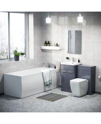 Aime 500mm Vanity Cabinet WC BTW Square Toilet & Bath Bathroom Suite Steel Grey