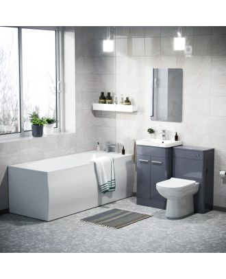 Aime 1700mm Bath, 500mm Vanity Basin Unit, WC Unit & Elso Back to Wall Toilet Steel Grey