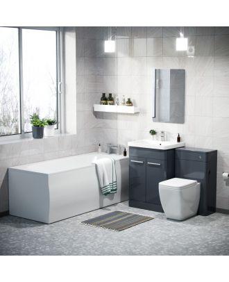 Aime 600mm Vanity Unit, WC Unit and Square BTW Toilet & Bath Suite