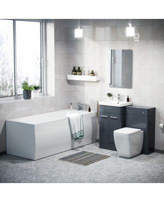 Aime 500mm Vanity Cabinet WC BTW Square Toilet & Bath Bathroom Suite Anthracite