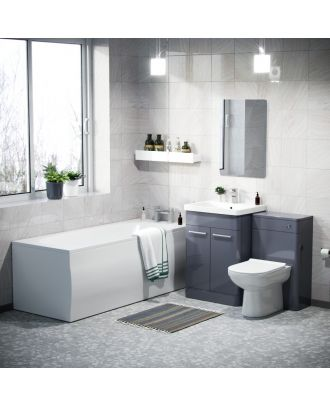 Aime 1700mm Bath, 600mm Vanity Basin Unit, WC Unit & Elso Back to Wall Toilet Steel Grey