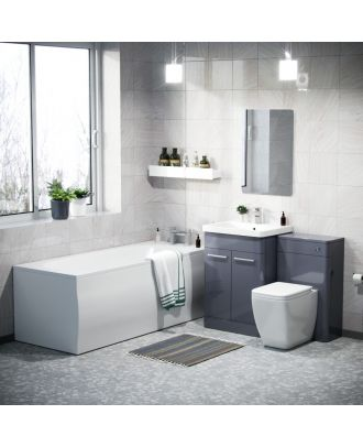 Aime 600mm Basin Vanity Cabinet, WC Unit, Square Toilet & Bath Bathroom Suite Steel Grey