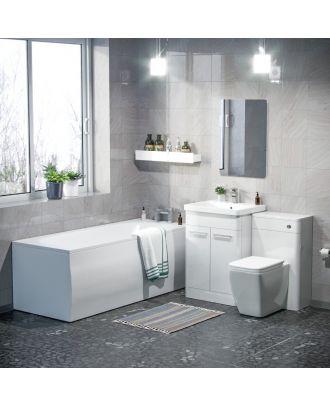 Aime 600mm Basin Vanity Cabinet, WC Unit, Square Toilet & Bath Bathroom Suite