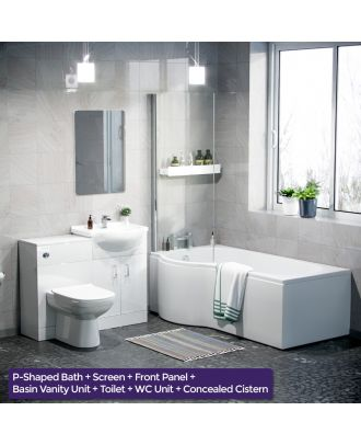 Marovo LH P-Bath, Front Panel, Bath Screen, 550mm Vanity Basin Unit, WC Unit & Eslo Back to Wall Toilet White