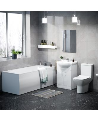 Adeney Bathroom Basin Vanity Unit, Toilet and Bath Suite White
