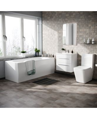 Fann 600mm Wall Hung 2 Drawer Basin Vanity, Close Coupled Toilet and Round Bath