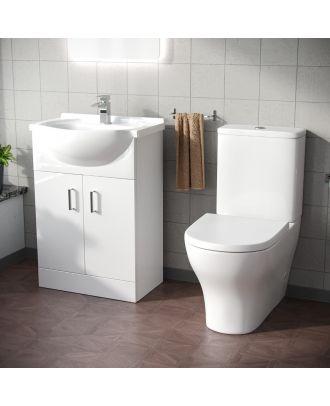 Marovo 550mm Basin Vanity Unit & Aspen Close Coupled Toilet White