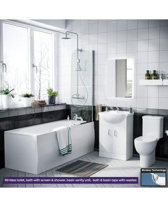 Marovo 1700mm Bath, Bath Screen, 550mm Basin Vainty Unit, Close Coupled Toilet, Shower Slider Raill Kit, Bath and Mono Mixer & Wastes White