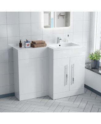 Aron 1100mm RH White Gloss Bathroom Basin Combination Vanity Unit