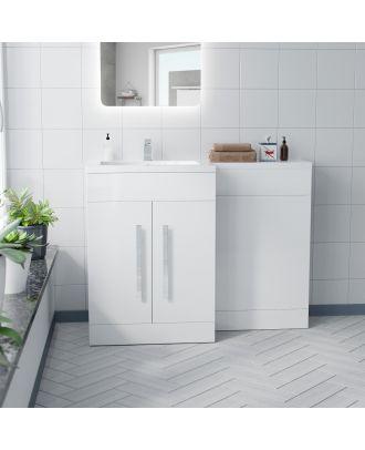 Aric White Gloss Bathroom Vanity Unit Basin Sink Furniture Cabinet LH 1100mm