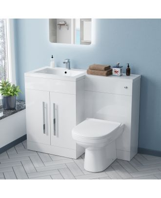 Aron LH 600mm Vanity Basin Unit, WC Unit & Elso Back To Wall Toilet White