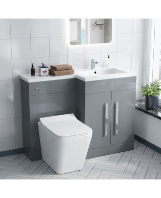 Aron RH 600mm Vanity Basin Unit, WC Unit & Elora Back To Wall Toilet Light Grey