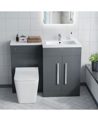 Aron RH 600mm Vanity Basin Unit, WC Unit & Elora Back To Wall Toilet Grey