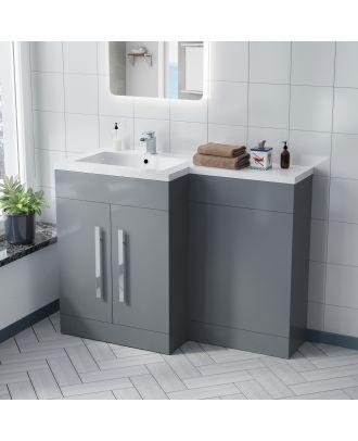 Aron 1100mm LH Light Grey Bathroom Basin Combination Vanity Unit