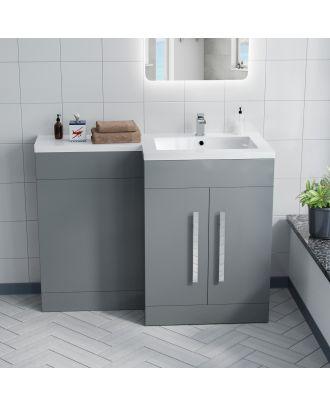 Aron 1100mm RH Light Grey Bathroom Basin Combination Vanity Unit