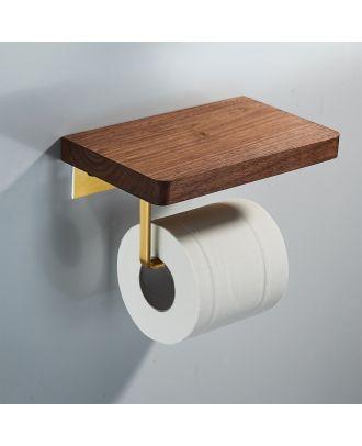 Chet Luxury Single Toilet Roll Holder Wooden Walnut & Gold