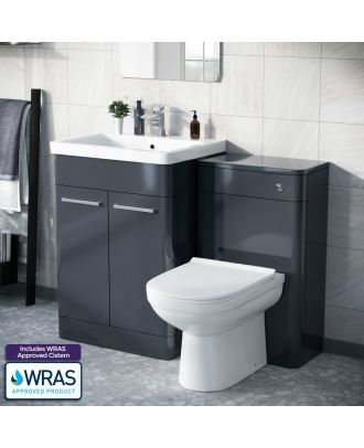 Aime 600mm Vanity Basin Unit, WC Unit & Elso Back to Wall Toilet Anthracite