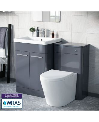 Aime 600mm Vanity Basin Unit, WC Unit & Round Back to Wall Toilet Steel Grey