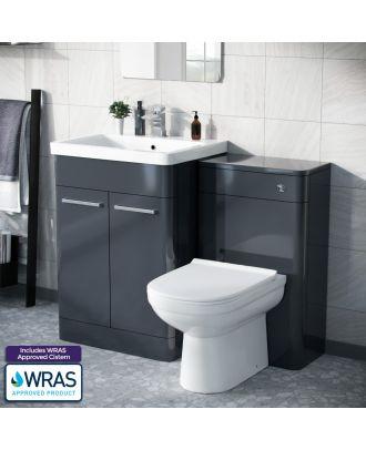 Aime 600mm Freestanding Basin Vanity Unit, WC Unit & BTW Space Saving Round Toilet Anthracite