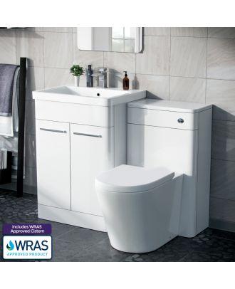 Aime 600mm Freestanding Basin Vanity Unit, WC Unit & BTW Space Saving Round Toilet White