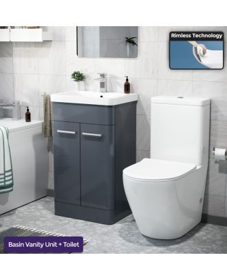 Aime 500mm Freestanding Vanity Unit and Close Coupled Rimless Toilet Anthracite