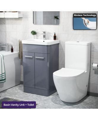 Aime 500mm Freestanding Vanity Unit and Close Coupled Rimless Toilet Steel Grey