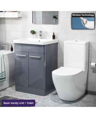 Aime 600mm Freestanding Vanity Unit, Curved Rimless Close Coupled Toilet Steel Grey