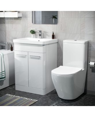 Aime 600mm Freestanding Vanity Unit And Curved Close Coupled Toilet White