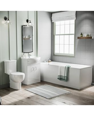 Marovo 1700mm Bath, 650mm Vanity Basin Cabinet & Ember Close Coupled Toilet White