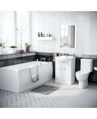 Marovo 1700mm Bath, 550mm Vanity Basin Cabinet & Ember Close Coupled Toilet White