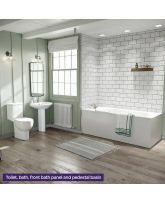 Complete Bathroom Suite 1700mm Bath WC Toilet Basin Sink Full Pedestal and Front Bath Panel