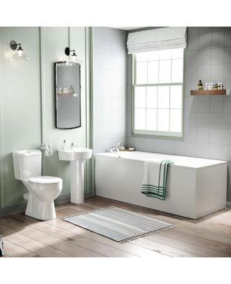 Porto 1700mm Bath, Pedestal Basin & Close Coupled Toilet White