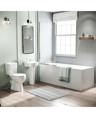 Porto 1700mm Bath, Bath Screen, Pedestal Basin & Close Coupled Toilet White