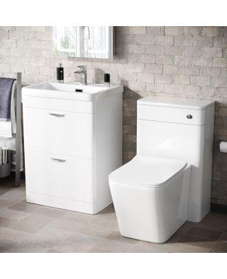 Artum 600mm 2 Drawer Vanity Basin Unit, WC Unit & Elora Back to Wall Toilet White