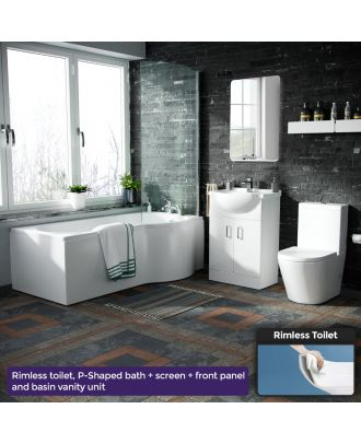 Marovo RH P-Bath, Bath Panel, Screen, 550mm Vanity Basin Unit & Close Coupled Toilet White
