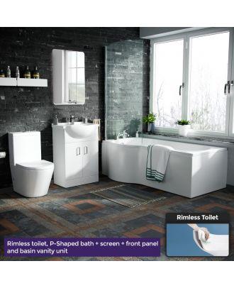 Marovo LH P-Bath, Front Panel, Bath Screen, 550mm Vanity Basin Unit & Oakham Close Coupled Toilet White