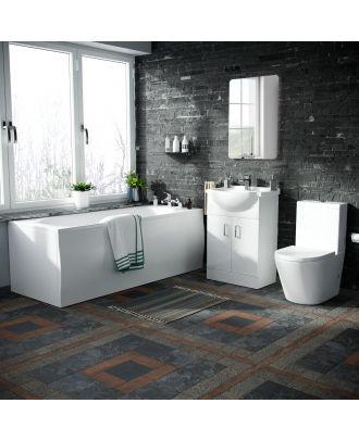 Marovo 1700mm Bath, 550mm Vanity Basin Unit & Oakham Close Coupled Toilet White