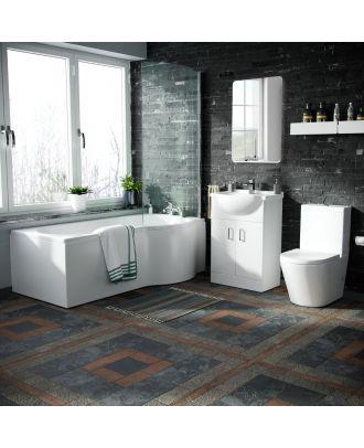 Marovo RH P-Bath, 550mm Vanity Basin Unit & Close Coupled Toilet White