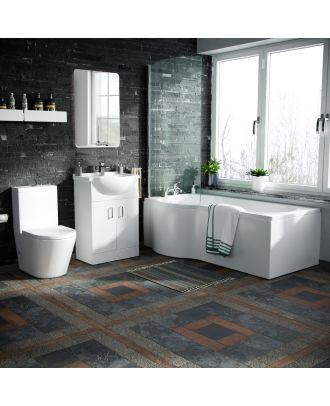 Marovo LH P-Bath, Front Panel, 550mm Vanity Basin Unit & Close Coupled Toilet White