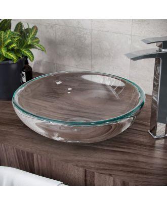 420 x 160 Transparent Glass Basin Countertop Bathroom Wash Bowl Basin