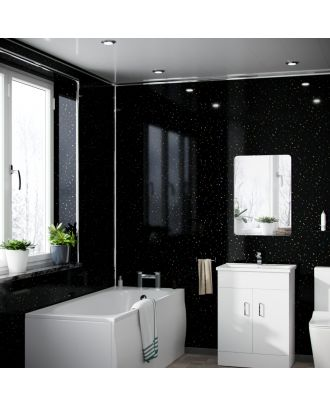 Atosh Black Galaxy PVC Cladding Shower Wall Panel 1000x2400x10mm (Pack Of 1)
