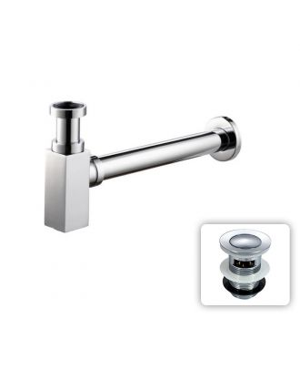 Chrome Square Bottle Trap & Outlet Pipe Bathroom Basin Sink Brass With Waste