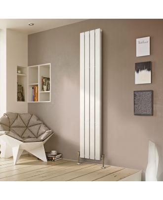 Ace 1800 X 300mm Double Column Flat Panel White Vertical Designer Radiator
