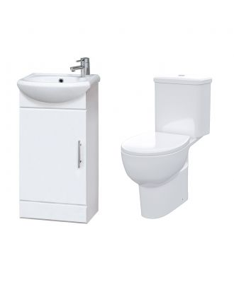 Bracedale 420  mm Cloakroom Basin Vanity Cabinet with WC Toilet Set
