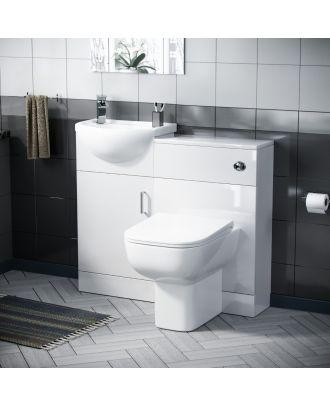 Marovo 400mm Vanity Basin Unit, WC Unit & Debra Back to Wall Toilet White