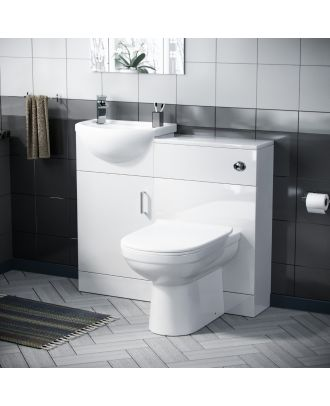 Corby 400mm Floor Standing Vanity, WC Unit & Curved BTW Toilet White
