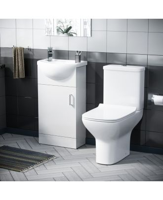 Siste 400mm Floor Standing Cabinet, Semi-Recess Basin and Close Coupled Toilet White