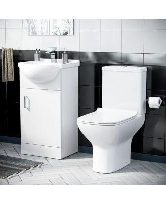 Marvovo 450mm Vanity Basin Unit FP & Cyan Close Coupled Toilet White