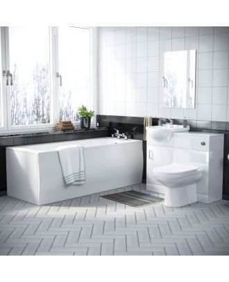 Marvovo 1700mm Bath, 450mm Vanity Basin Unit FP, WC Unit & Elso Back To Wall Toilet White