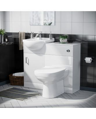 Marvovo 450mm Vanity Basin Unit FP, WC Unit & Elso Back To Wall Toilet White